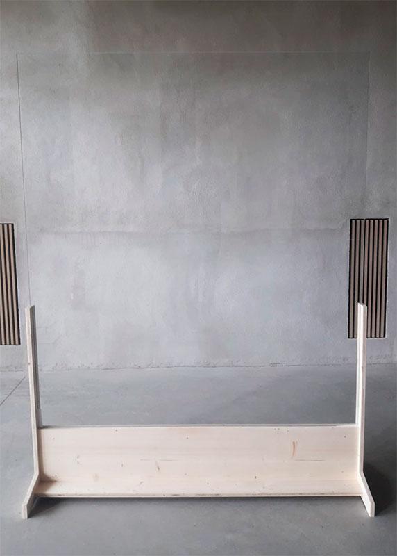 Mampara en U base de madera frontal