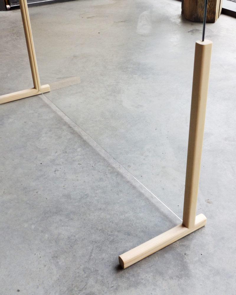 Mampara de aparador o mesa en forma de T perfil